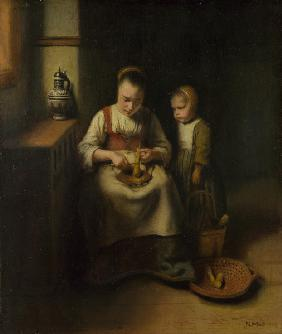 A Woman scraping Parsnips, with a Child standing by her
