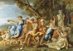Bacchanalia in front of a Pan bust