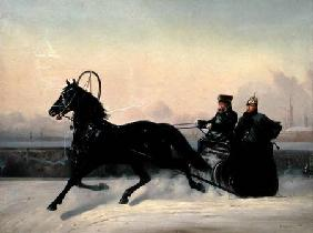 Emperor Nicholas I (1796-1855) Driving in a Sleigh