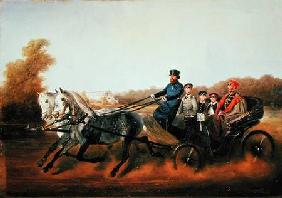 Tsar Alexander II (1818-81) Driving with his Sons in Zarskoje Selo