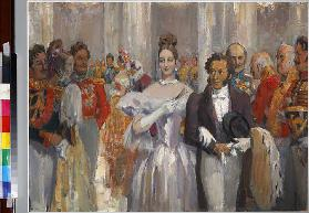 Alexander Pushkin with his wife at the ball