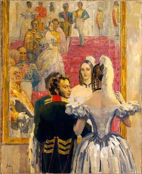 The poet Alexander Pushkin with his wife in Anich