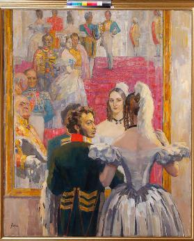 Poet Alexander Pushkin with his wife in the Imperial Anichkov Palace