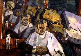 Self Portrait with the Barber, 1914-23