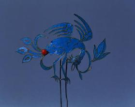 1978-4 Decorative hair slide in the shape of an exotic bird, Chinese, 19th century (silver, enamel)