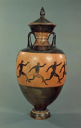 Attic black-figure Panathenaic amphora decorated with running men, Greek
