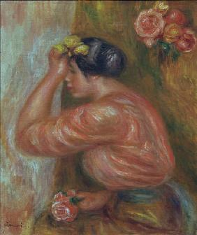 A.Renoir, Girl with Roses by Mirror