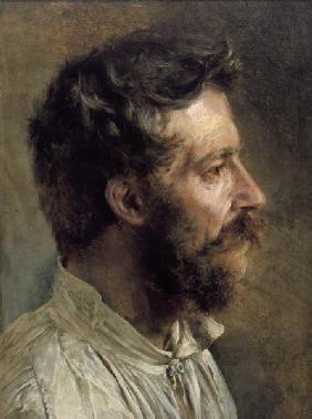 A.v.Menzel, Head of a Bearded Worker