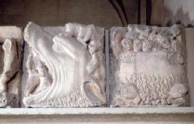Bas-relief depiction of hell, showing figures being consumed by a monster and sinners boiling in a c