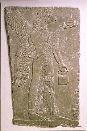 Eagle-headed winged genius, Assyrian, Mesopotamian, 883-859 BC