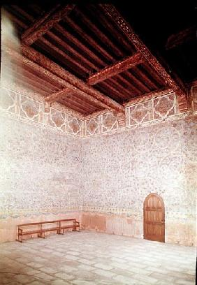 Interior view of the Pope''s bedroom decorated with blue tempera with a foliage pattern, c.1334-62 (