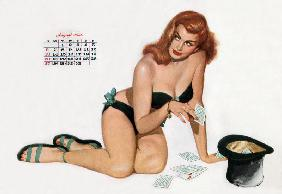 Pin up taking cards in a top hat, from Esquire Girl calendar