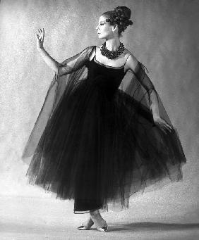 Presentation of fashion by Jacques Heim, Paris : black tulle evening dress