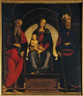 Perugino, Madonna & Child w.Saints /1494
