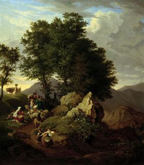 Richter / Shepherds at Devotional / 1833