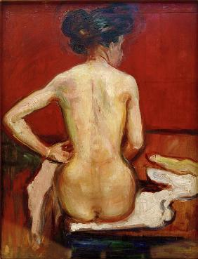 Back View of Sitting Female Nude with Red Background