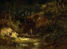 Spitzweg / Girl at Forest Stream /c.1865