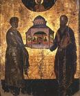 St. Peter and St. Paul presenting God with a Temple, icon, Veneto-Cretan school, 15th century (tempe