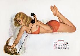 Pin up with a cat playing with phone wire, from Esquire Girl calendar