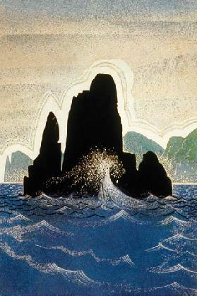 The Odyssey by Homere : the rock of Gortyne, engraving by Theo Schmied after Francois-Louis Schmied