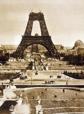 View from Chaillot palace of Eiffel tower built for world fair in 1889, here 2nd floor