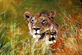 Mother and Baby I (Lions) 1995 (inks, acrylics and pencil on paper)