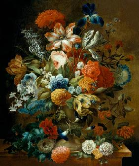 Flower Still Life with Bird Nest
