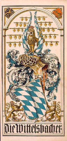 The root coat of arms of the German princely houses: The Wittelsbacher