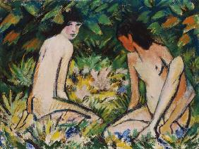 Two girls in the greenery