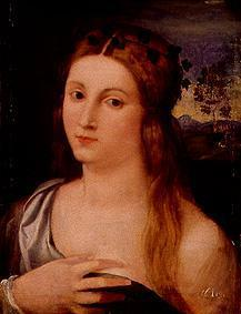 Half-length portrait of a girl.