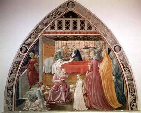 The Birth of the Virgin, from the cycle of the Lives of the Virgin and St. Stephen from the Cappella