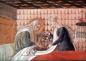 Birth of the Virgin, detail of St. Anne and an attendant