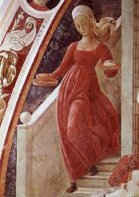 The Birth of the Virgin, detail of a maid servant descending a staircase, from the fresco cycle of T