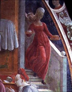 The Birth of the Virgin, detail of a servant girl from the fresco cycle The Lives of the Virgin and