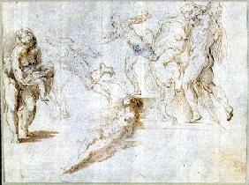 Figure Studies: Woman Holding a Baby; Man Pursued by Another; Nude Woman Lying on Ground; Hercules a