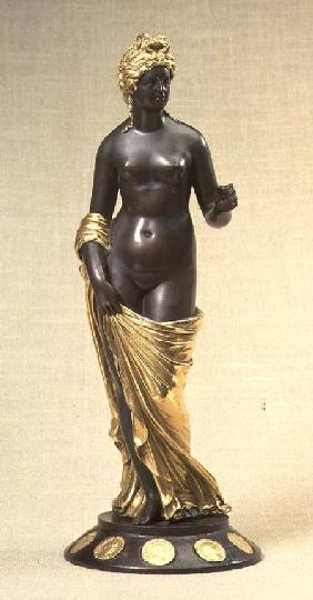 Venus Felix, statue of a nude female, copy of an original from antiquity, on a wooden base inset wit