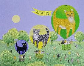 Cat Balloon Race (acrylic on canvas)