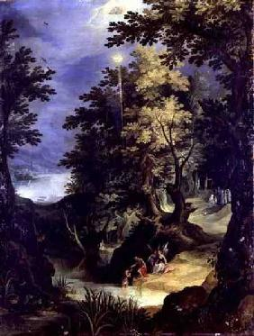 Landscape Depicting the Baptism of Christ and the Baptism Sermon