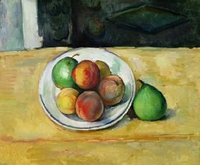 Still Life with a Peach and Two Green Pears
