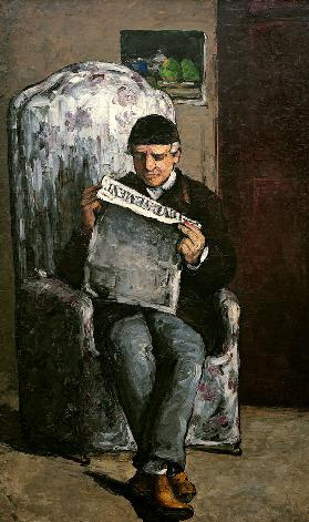 Father of the artist reading the newspaper