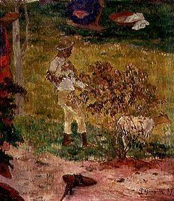 Negro boy with goat on Tahiti. (detail from Conversation Tropiques)