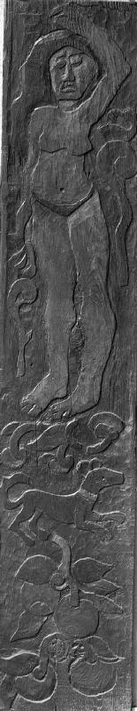 Carved vertical panel from the door frame of Gauguin's final residence in Atuona on Hiva Oa (Marques