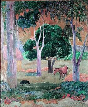 Dominican Landscape or, Landscape with a Pig and Horse