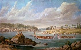 Makah returning in their war canoes