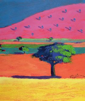 Pink Hill (acrylic on card)