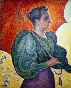 Portrait the Berthe Signac with umbrella.