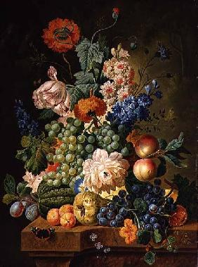 Fruit and Flowers on a Marble Table
