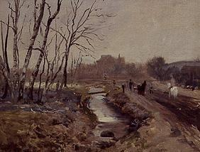 Wintry landscape with figures