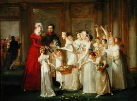 The Arrival of Marie-Louise de Habsbourg-Lorraine (1791-1847) in the Gallery of the Chateau de Compi