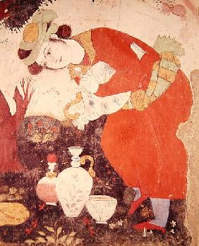 Woman pouring Wine in the Court of Shah Abbas I, 1585-1627 (detail)